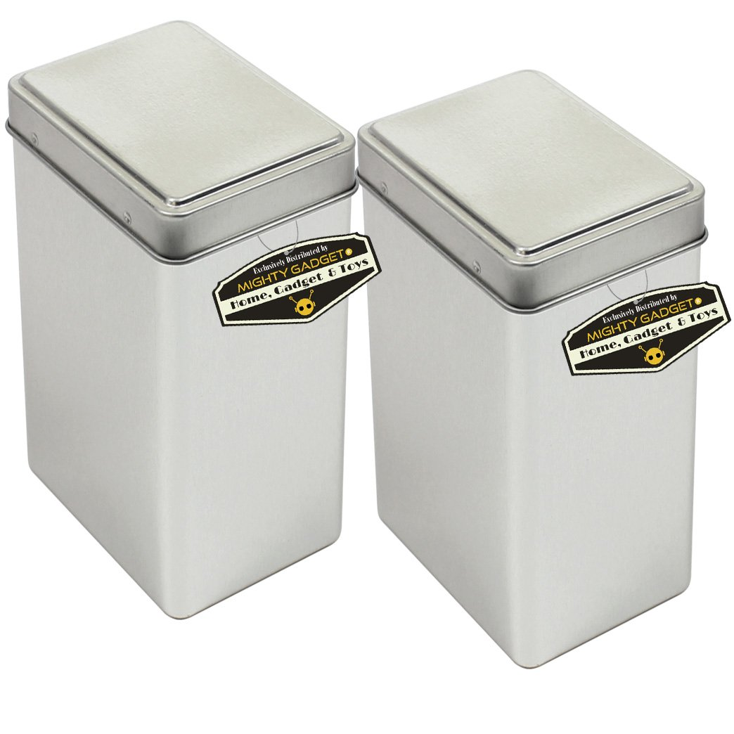 Mighty Gadget (R) Rectangular Empty Snap on Lid Survival Tin Container for Geocaching or Survival Gear (2 Pack) - 2.875 x 2.25 x 5