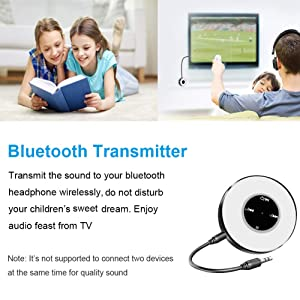 Bluetooth 5.0 Transmitter and Receiver, 2-in-1 Mini Bluetooth Audio Transmitter Adapter for TV, Wireless 3.5mm Aux Bluetooth Receiver for Home Audio/Car Stereo System (aptX) (Color: black)