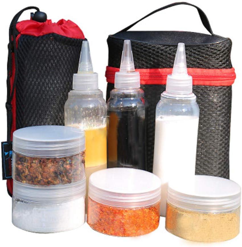 Portátil Recipiente para especias Salsa condimento botellas contenedores para barbacoa Camping al aire libre con organizar llevar bolsa de ...