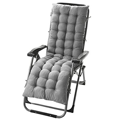 """DN_HOM Awesome Deck Chair Cushion Lounge Tufted Chaise Padding Outdoor Indoor Recliner 61"""" x 19"""" (Gray) : Garden & Outdoor"""