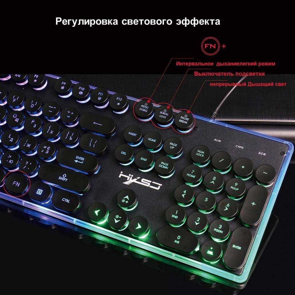 scgtpapadc English Russian Backlit Keyboard 104 Key Gaming Keyboard 1600dpi Computer Mouse Combo Set Black
