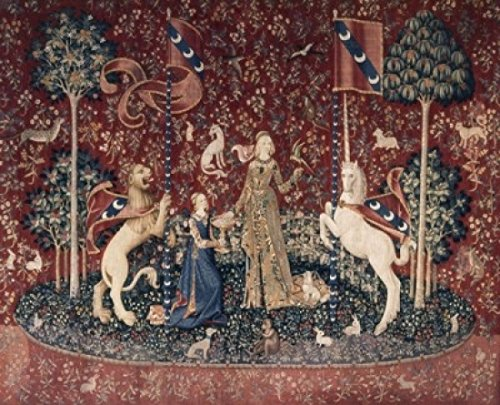Posterazzi Lady and the Unicorn -Sense of Taste 15th Century Tapestry (Flemish) Musee National du Moyen Age Thermes & Hotel de Cluny Paris France Poster Print (24 x ()