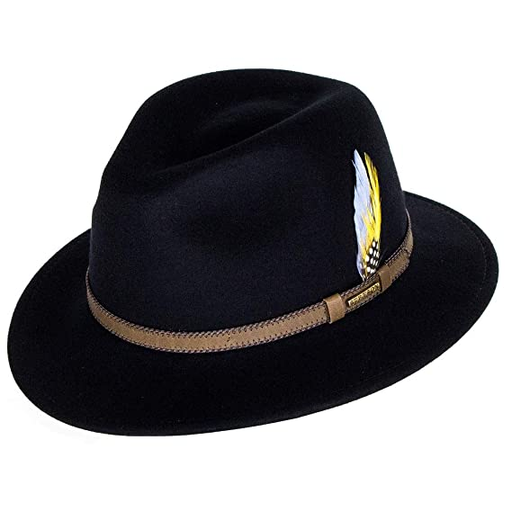 b15f742d Stetson Hats Tucson Vita-Felt Fedora Hat - Black P: Amazon.co.uk ...