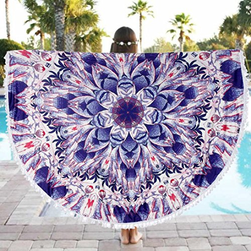 Ron de Serviette de plage, Amlaiworld Serviette de bain à la maison de piscine ronde de plage Nappe de table en tissu Tapis de yoga (150_x_150_cm, Multicolore)