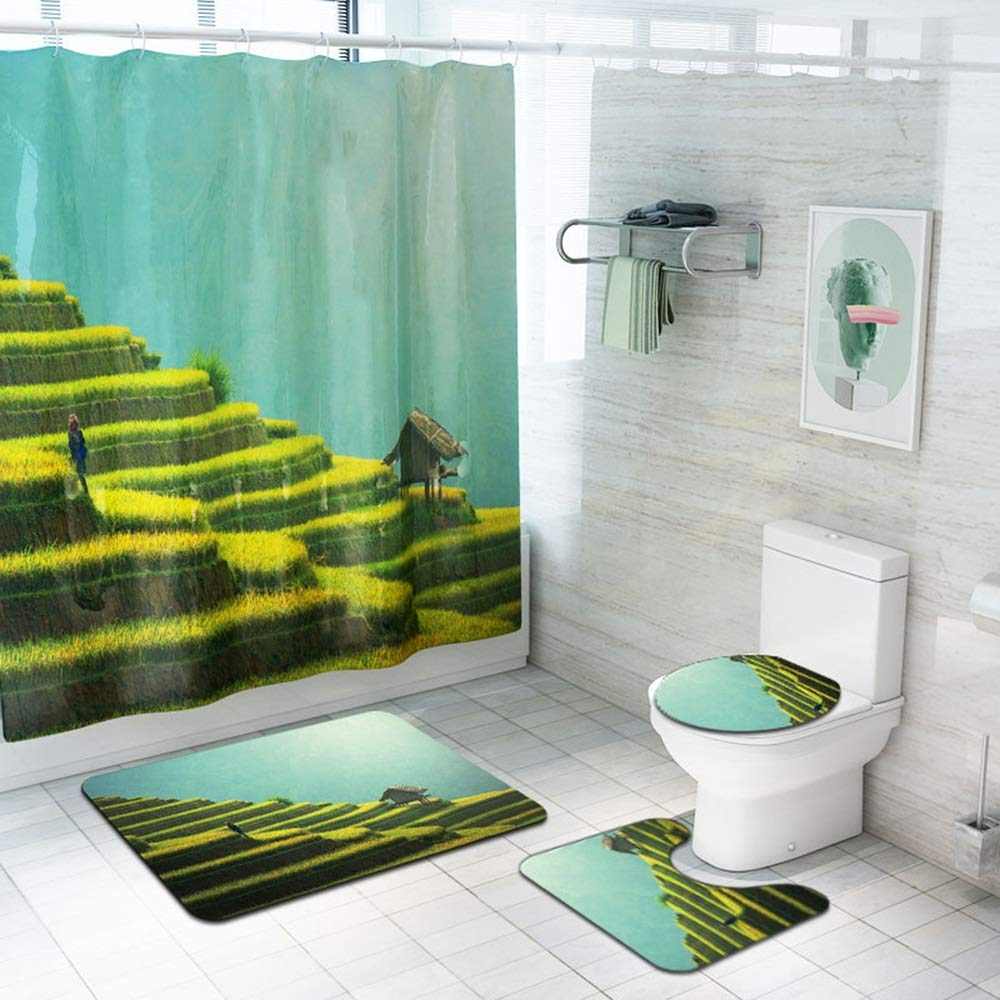 ETH Terrace Pattern Shower Curtain Floor Mat Bathroom Toilet Seat Four-Piece Carpet Water Absorption Does Not Fade Versatile Comfortable Bathroom Mat Can Be Machine Washed Durable by ETH