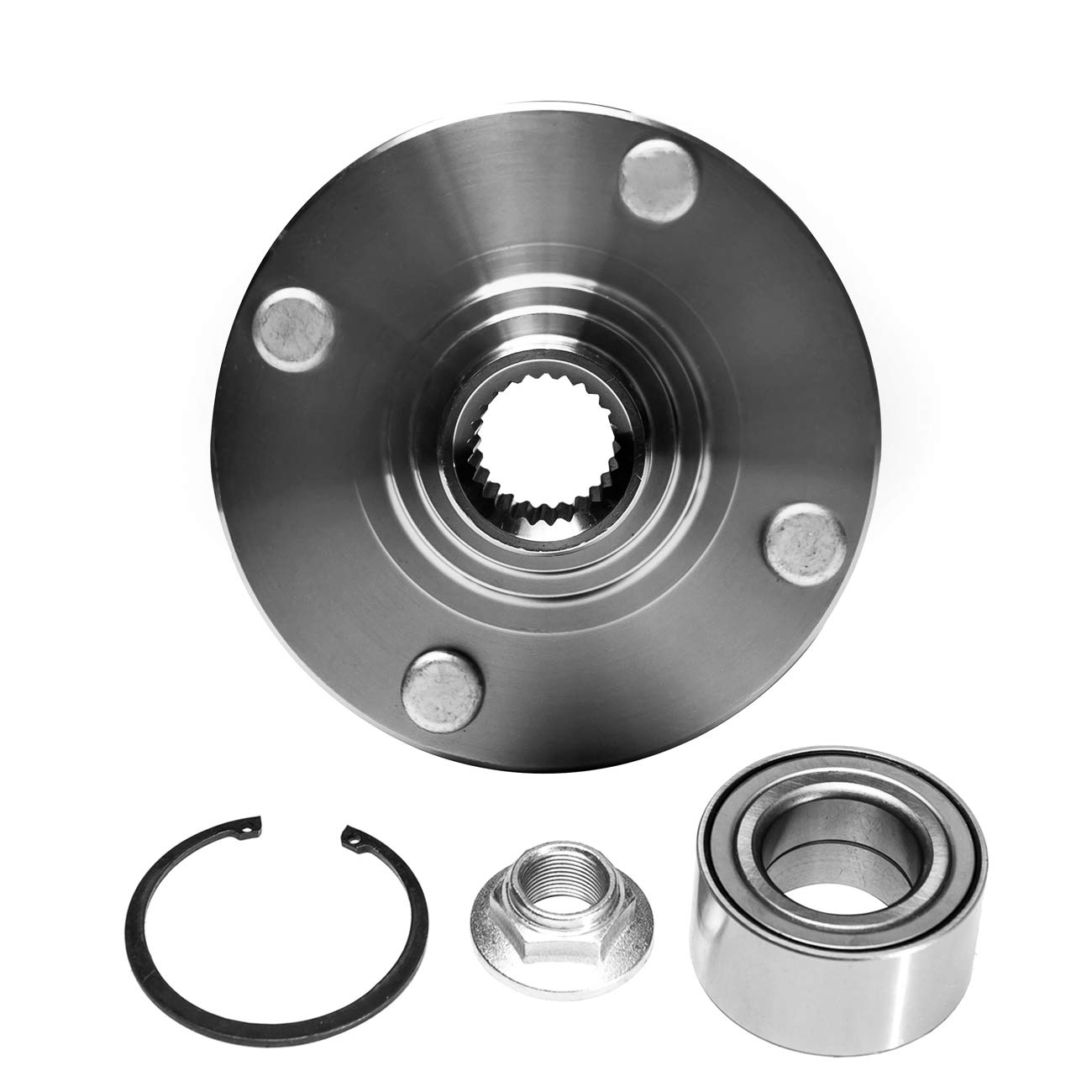 TUCAREST 518510 Front Wheel Bearing and Hub Assembly Compatible 2000 01 02 03 04 05 06 07 08 09 10 2011 Ford Focus Hub Repair Kit 4 Lug