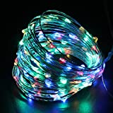 PMS Solar String Lights 44ft 100 LED Multicolor Fairy Starry Lights Silver Colored Copper Wire for Garden, Wedding, Christmas, Party, Indoor and Outdoor Decoration. 8 Modes/Waterproof / USB Charge.