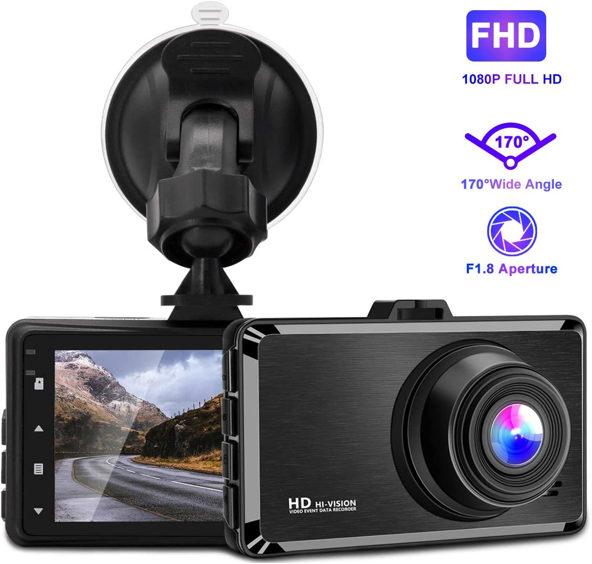 Dash Cam, 3 Inch 1080P FHD Dvr Car Driving Recorder, 170 Wide Angle Dash Camera with Loop Recording, G-Sensor, Parking Monitor, Motion Detection GRC