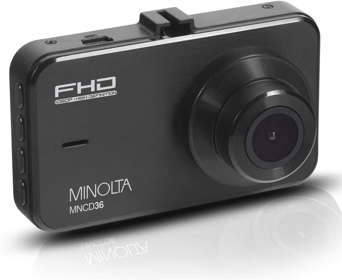 "Minolta 1080p HD Dash Cam w/ 3"" LCD Screen & 16GB Memory Card, Black"