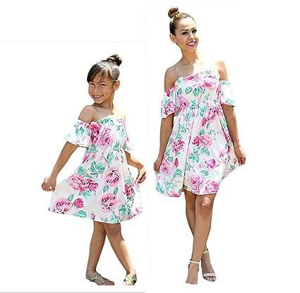 9a06b14216b Mom&Me Floral Sundress Franterd Mom   Baby Parent-Child Slim A-Line Dress  Family