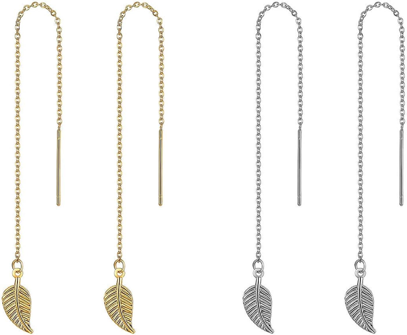 Flongo Damenkette Frauen Halskette St/äbchen Durchzieher Ohrringe Ohrseil Ohrkette Set mit Kreuz Anh/änger in Rose Gold Silber Ton Medaillon aus Edelstahl