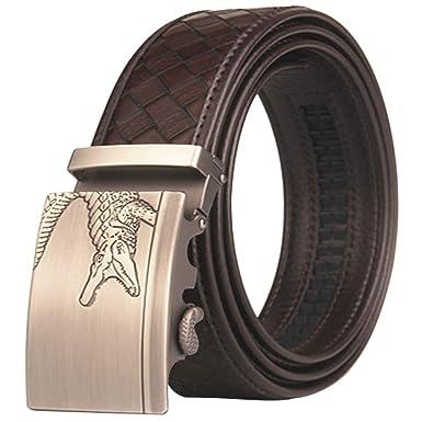 AH Cinturón Trinquete Hombres Cuero, Caja Regalo, Cinturón Rejilla ...