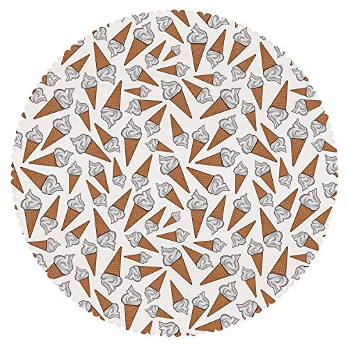 iPrint Cool Round Tablecloth [ Sweet Decor,Takeaway Vanilla Ice Cream Gelato Background Yummy Desert Scoop Image,Pearl Light Caramel ] Fabric Home Tablecloth Ideas