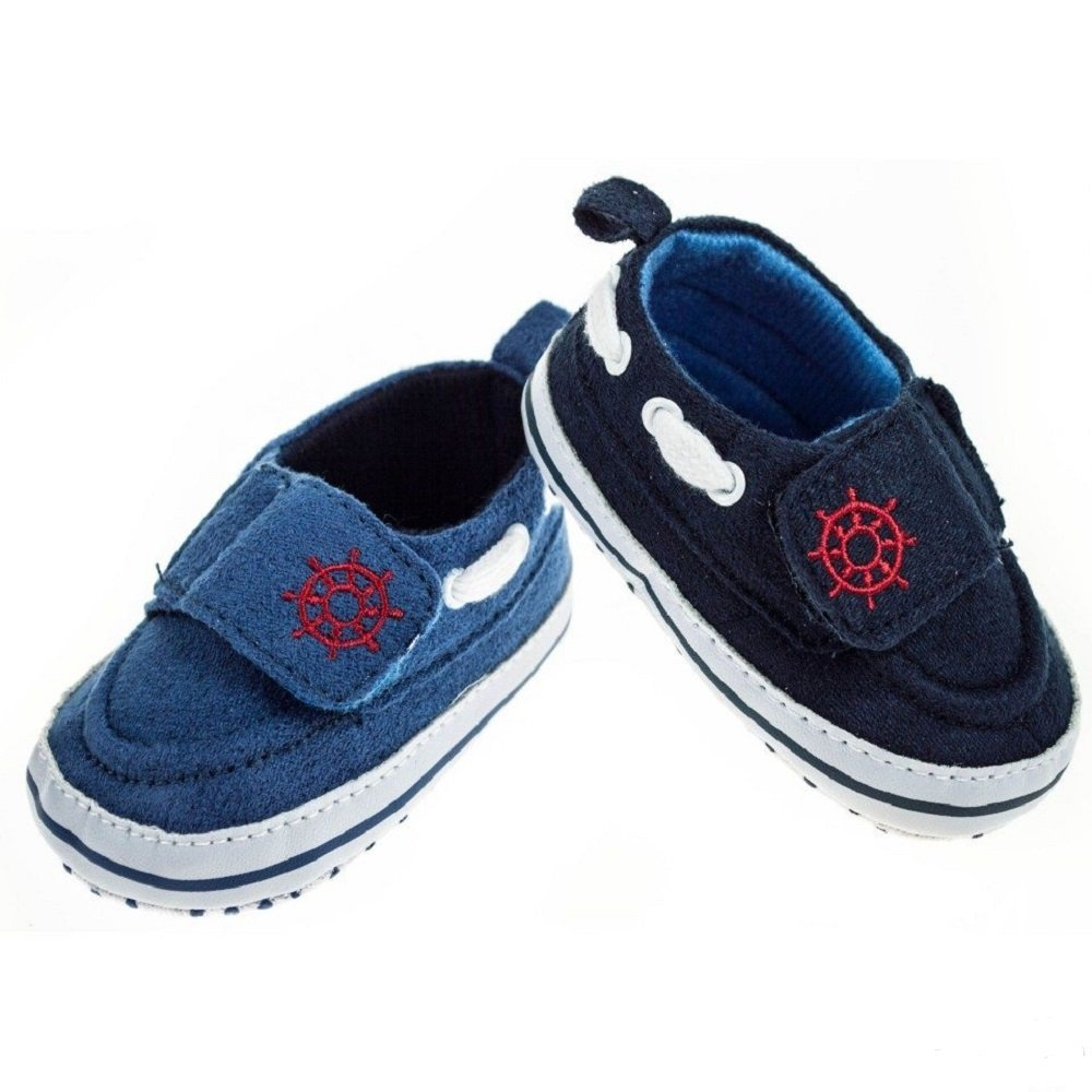 Mellow Be Soft Touch Baby Boy Boating Yachting Style First Walking Shoe. Available in Blue Dark Blue and to fit Ages 0-3mths, 3-6mths and 6-12mths.