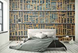 Photo wallpaper wall mural - Metal Shelves Wood Frames Lines - Theme Architecture - L - 8ft 4in x 6ft (WxH) - 2 Pieces - Printed on 130gsm Non-Woven Paper - 1X-1304860V4