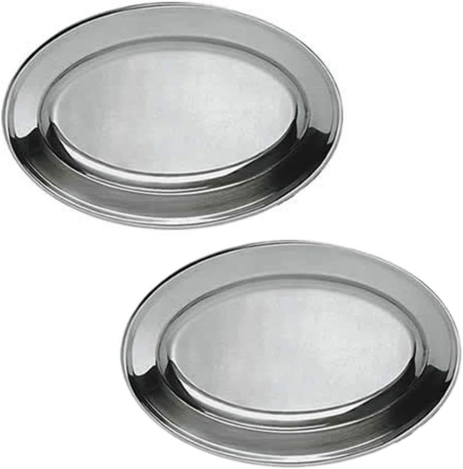 Heavy Duty Mirror Polish Oval Stainless Steel Platters Canapes Horduerves Serving Tray (12