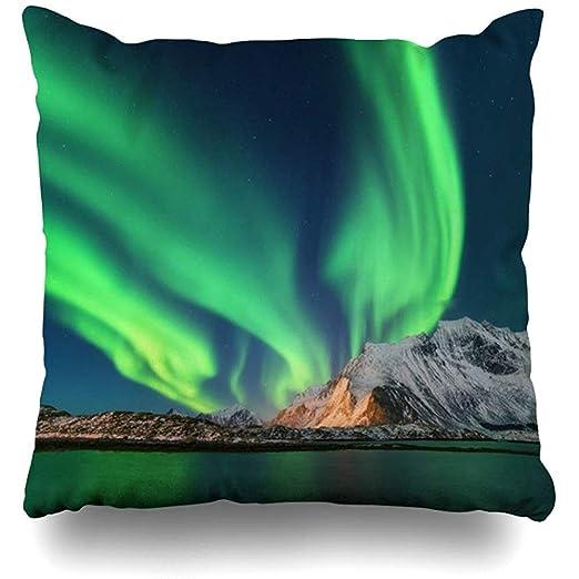 K.e.n Funda de Almohada Estrella Verde Invierno Aurora Boreal ...