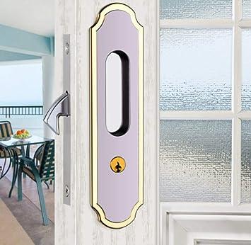 ZTZT Cerradura de la puerta deslizante moderna cerradura de la puerta interior invisible dormitorio simple baño cerradura de la puerta corredera cerradura de la puerta de madera cerradura con llave: Amazon.es: Bricolaje