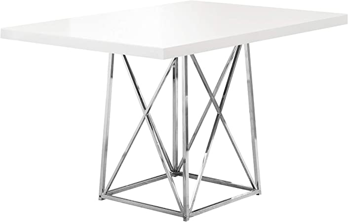 Amazon Com Monarch 36 By 48 Inch Dining Table White Glossy Chrome Metal Tables