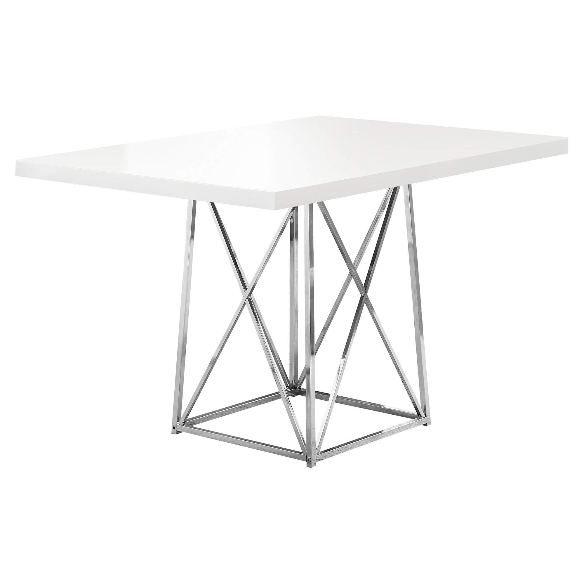 Monarch I 1046 36 by 48-Inch Dining Table, White Glossy / Chrome Metal by Monarch Specialties