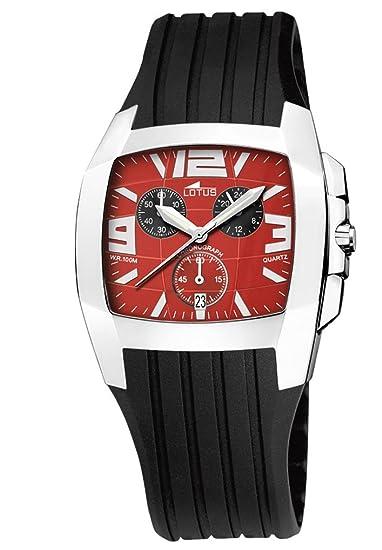 Lotus Shiny 15317-C - Reloj de caballero de cuarzo con correa de goma negra: Amazon.es: Relojes