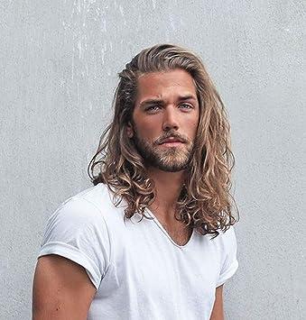 Amazon Com Stfantasy Long Curly Golden Brown Hair Wigs Men