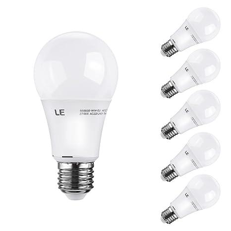 LE® Bombilla LED A60 E27 atenuable de 9,5 W, Equivalente al brillo