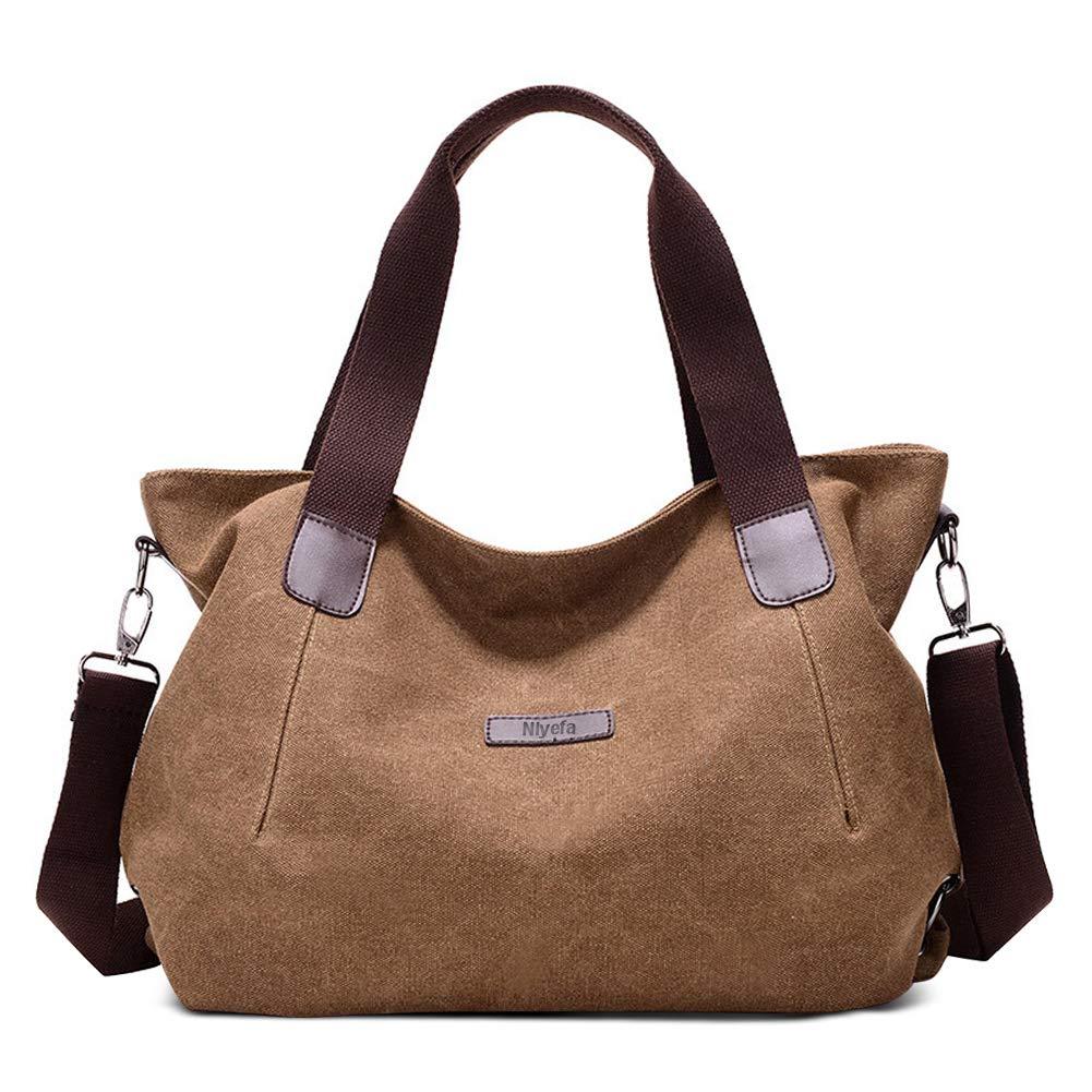 7c4022e719b7d Nlyefa Damen Umhängetasche Schultertasche Canvas Handtasche Retro Stil  Multifunktionsbeutel für Schule