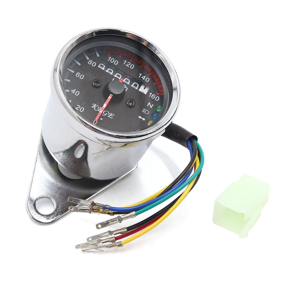 uxcell Motorcycle LED Backlight Digital Odometer Speedometer Gauge Silver Tone