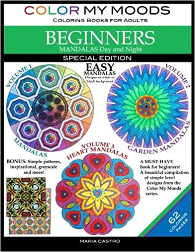 Amazon Color My Moods Coloring Books For Adults Mandalas Day And Night BEGINNERS SPECIAL EDITION 42 Easy On White Or Black Background
