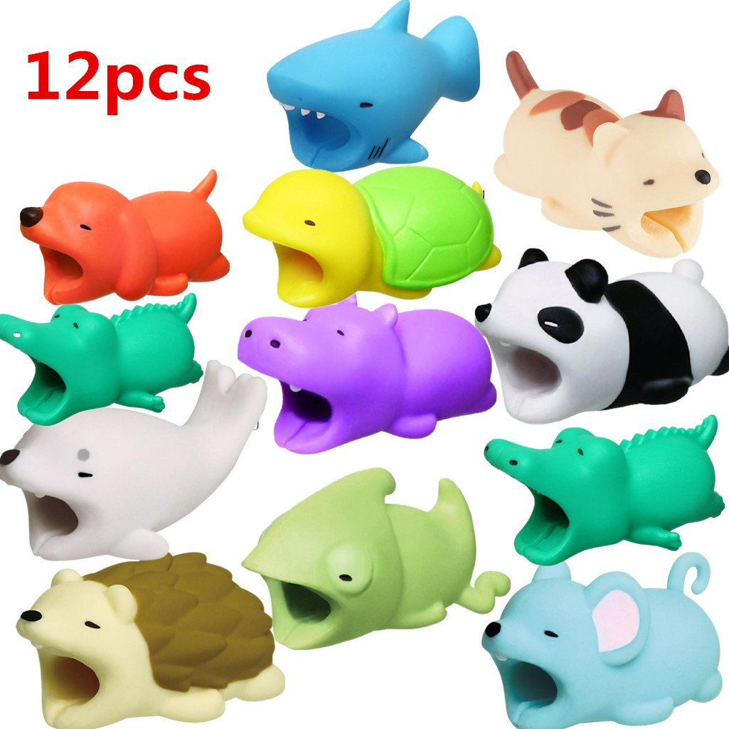 Festwolf 12 pcs New Cable Bite for iPhone Cable Cord Cute Animal Phone Accessory Protects Cable Accessory DATE-879
