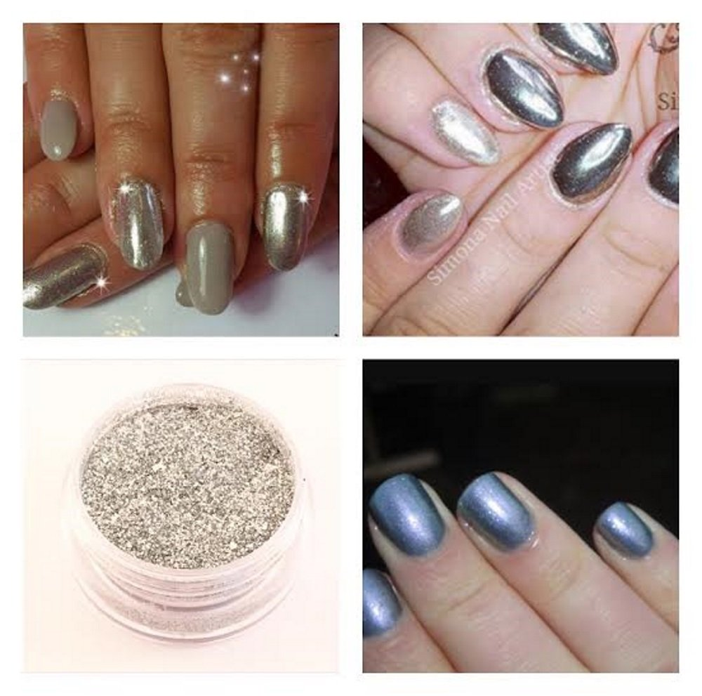 Mermaid Sheer Rub Pigment Metallic Silver Effect Dust Powder Nail ...