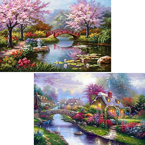 Yomiie 5D Diamond Painting by Number Kits Rural Scenery Full Drill for Adults, Landscape Paint with Diamond Cross Stitch Spring Scenery DIY Craft Decor (12x16inch, 2 - Stitch Cross Scenery
