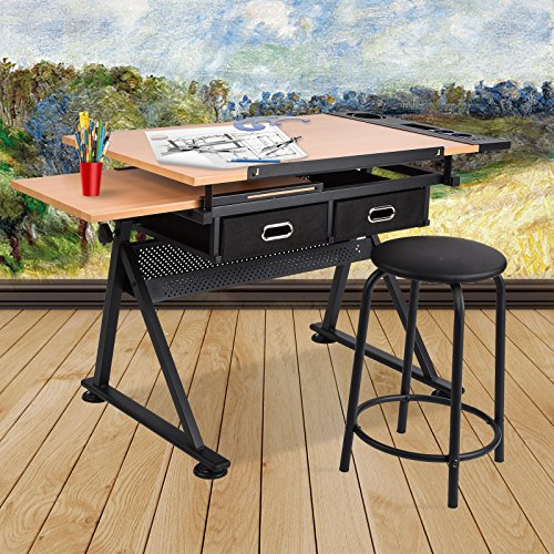 Mecor Adjustable Drafting Table Art Craft Drawing Desk w/2 Drawers and Stools,Pull-out Underdesktop Shelf,Wood by Mecor
