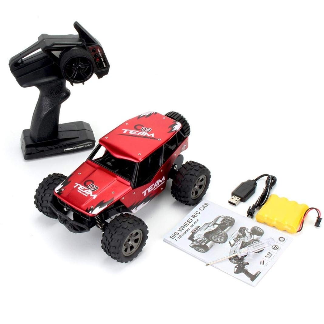 Roysberry Toys Toy Car Carrier, Remote Control Alloy Truck Off-Road Buggy, 1:18 2WD High Speed RC Racing Car Metal Toys Cars with Remote Trucks Buggy Christmas Birthday Gifts Hobby Toy Boys (RED)