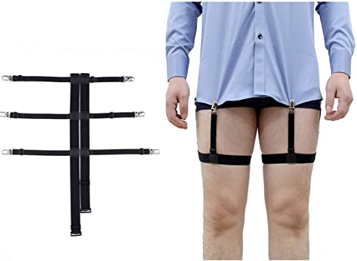 1 Pair Stable Stays Belt Suspender Garters Strap Durable Clips Man Shirt Holders
