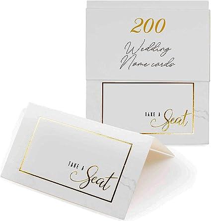 200 Hochzeits Namenskarten Platzkarten Tischkarten Mit Doppeltem Schwarzen Rand Für Eleganz Dekoration Gastkarten Aus Hochwertiger Papper