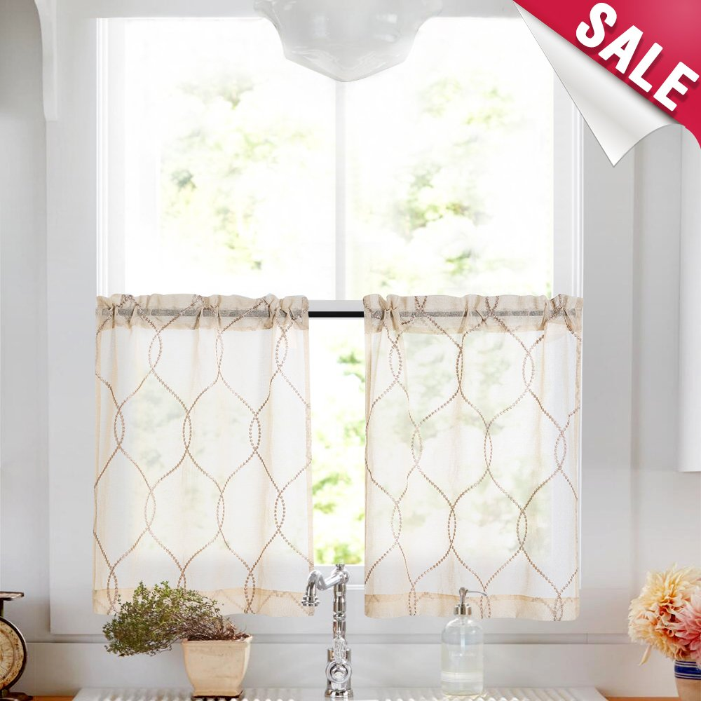 Vangao Kitchen Tier Curtain 45 inches Long Moroccan Trellis Pattern Embroidered Semi Sheer Short Curtains for Bathroom Half Window Curtains, Beige