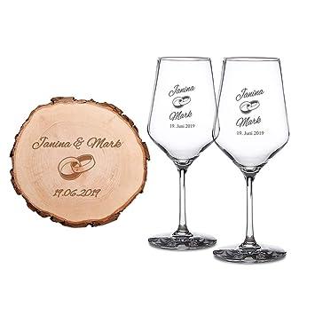 Casa Vivente Coffret Cadeau 2 Verres à Vin Blanc Et Tranche De Tronc Darbre Avec Gravure Personnalisé Avec Noms Et Date Motif Anneaux