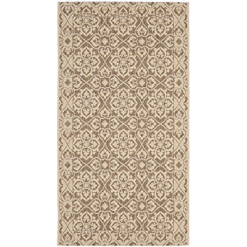 Cream Brown Rectangle Rug (Safavieh Courtyard Collection CY6550-22 Brown and Cream Indoor/ Outdoor Area Rug (4' x 5'7