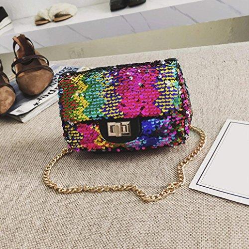 Embroidered Quilted Backpack - YJYDADA Women Girl Fashion Crossbody Bag Female Bling Sequins Shoulder Bag
