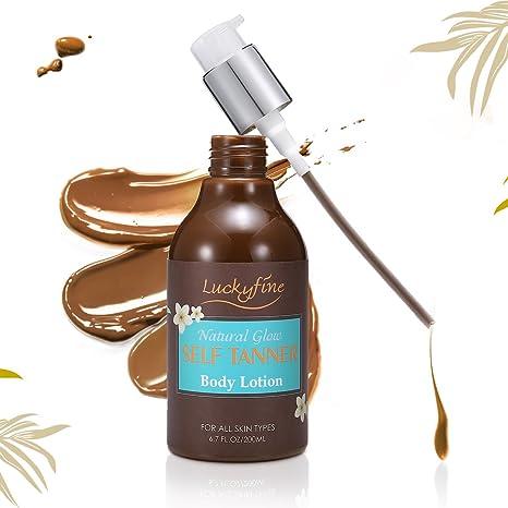 Luckyfine Loción Autobronceadora para Cara y Cuerpo Crema Bronceadora 200 ml