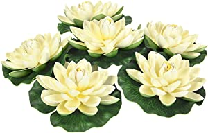 Shiny Flower 6Pcs Artificial Floating Foam Lotus Flowers, Artificial Water Lily Pads, Lotus Lilies Pad Ornaments for Patio Koi Pond Pool Aquarium Home Garden Wedding Party Garden Decor, Ivory