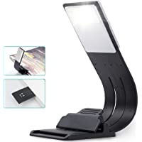 Book Light, Clip On USB Rechargeable Bed Reading Lights, 4 Level Brightness LED Bookmark Book, Kindle, iPad (Black)