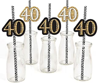 product image for Adult 40th Birthday - Gold - Paper Straw Decor - Birthday Party Striped Decorative Straws - Set of 24