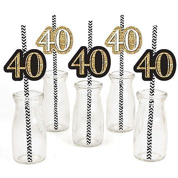 Amazon.com: Adulto 40 cumpleaños – oro – Decoración de paja ...