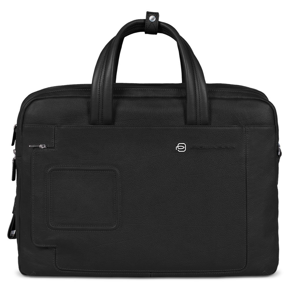 Piquadro Expandable Computer Portfolio Briefcase with Notebook Compartment, Black, One Size
