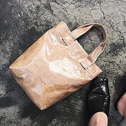 Caqui Transparente de Doble Bolso de Aprigy clsico del Cesta Causal Mensajero PVC con Kraft Coreana Amor Claro Daily Papel Bolsas Impermeable qAgR8F8