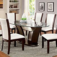 247SHOPATHOME Idf-3710OT-7PC-WH Dining-Room, 7-Piece Set, Dark Walnut/White