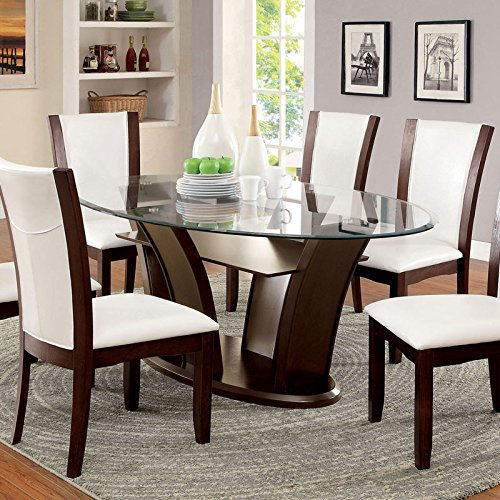 Manhattan Dark Cherry Finish 7-Piece Dining Table Set Ivory White